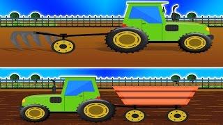 Trattore Formazione & Uses | Cartoon per i bambini | video didattico |Learn Farm Vehicles