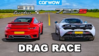 [carwow] Porsche 911 Turbo S vs McLaren 720S: DRAG RACE
