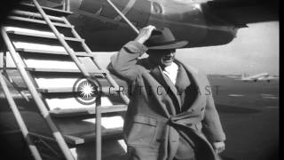 Hollywood movie stars aboard a Lockheed Constellation plane piloted by aviator Ho...HD Stock Footage