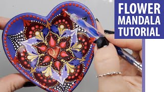 How To Paint A Dot Mandala Using A Flower Stencil On Any Surface, Not Just A Heart Dish