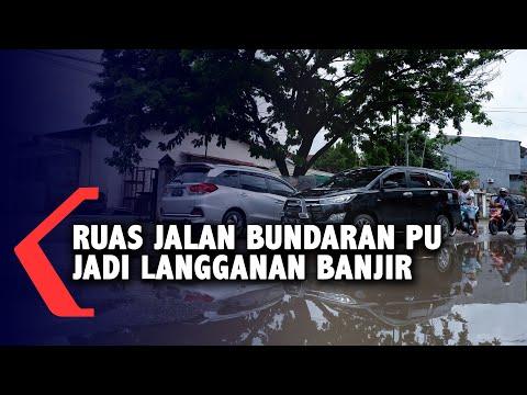 Tak Ada Drainase, Ruas Jalan Bundaran PU Jadi Langganan Banjir