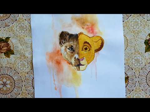 Drawing  Simba From The Lion King 2019/1998 Watercolor Painting | How to Draw Simba