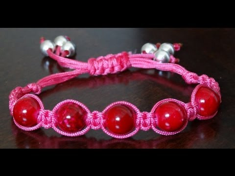 How to make adjustable square knot bracelet with beads