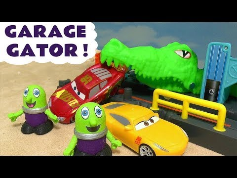 Disney Cars McQueen And Cruz Ramirez Visit The Hot Wheels Gator Garage And Get A Surprise