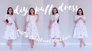 Diy Puff Sleeve Dress Tutorial with a Sweetheart Neckline | Easy and so dreamy!