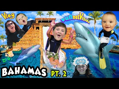 SHARKS IN THE WATER SLIDE!?!  Mike's Leap of Faith @ Atlantis (FUNnel Vision Bahamas Trip Part 2)