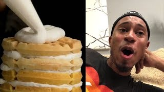 Kalen likes his breakfast cereal in a bowl with milk... so how does he react to a Cereal Waffle Cake? Is it a dreamy delight, or your teeth's worst nightmare?