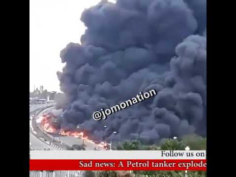 Lagos Fire Break: Several Fear Death As Fuel Tanker Explod At Otedola Bridge, In Lagos