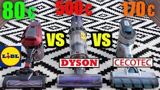 Aspirateur LIDL SILVERCREST VS DYSON V10 VS CECOTEC Conga RockStar 300 X-Treme : TAPIS