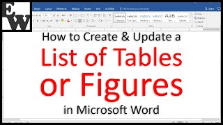 How to Create and Update a List of Tables or Figures in Microsoft Word