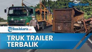 Truk Muatan Besi Terbalik di Cawang, Arus dari Tanjung Priok Menuju Cikampek Dialihkan ke Jagorawi
