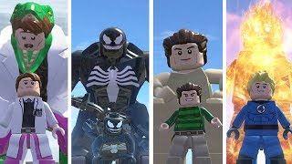 Lizard(Transformation),Venom,Standman,HumanTorch - Lego Marvel Super Heroes Game