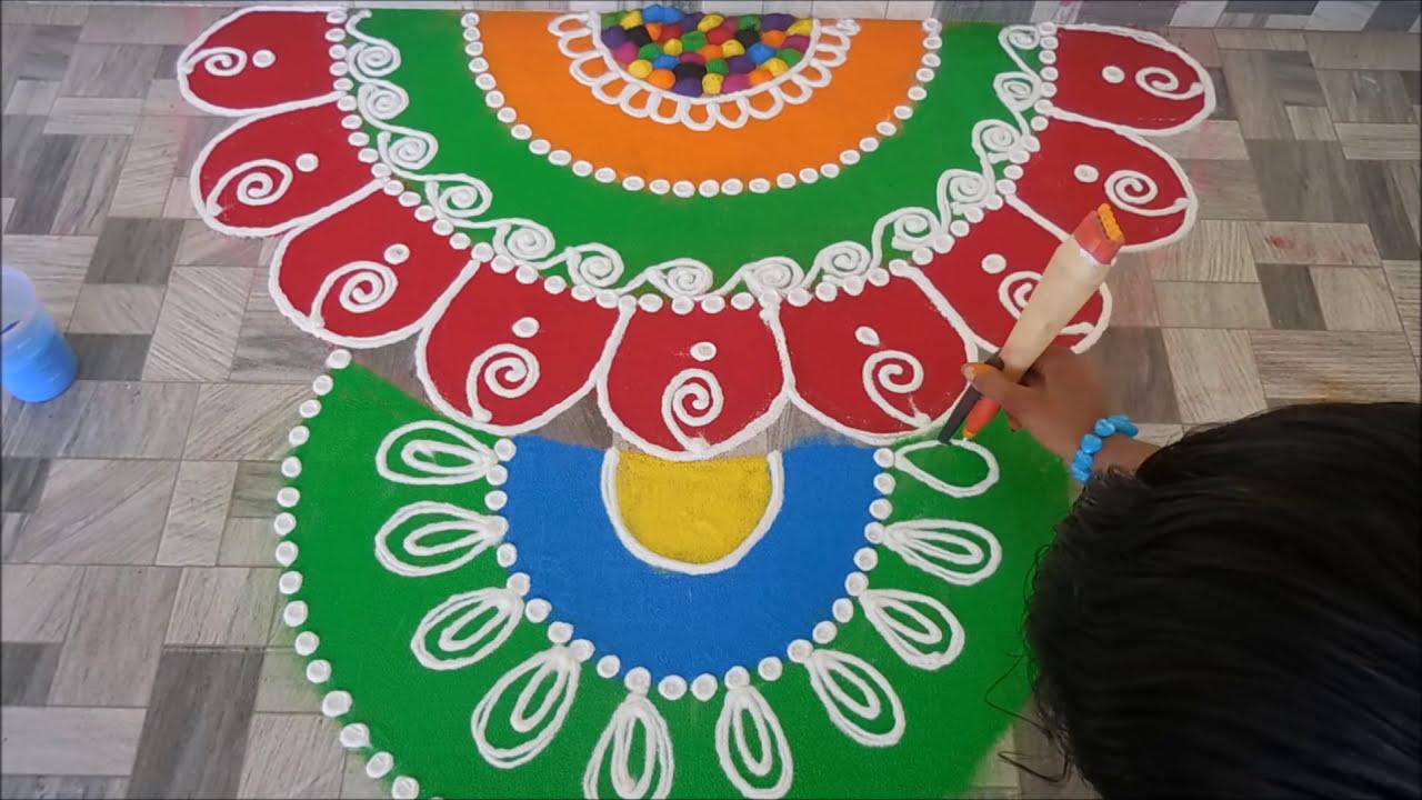 attractive and easy sanskar bhart rangoli design by poonam hedau