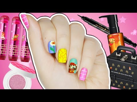 8-Bit Super Mario Nail Art + Makeup Collection!
