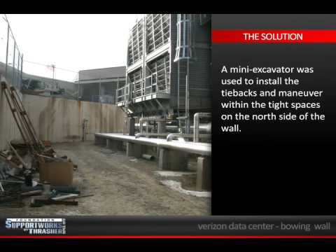 An addition was planned at the Verizon Data Center in Omaha, NE. Before construction could begin, a 40ft bowing retaining wall had to be stabilized because any additional deflection or movement of the wall could affect the new structure planned. A mini-excavator was used to install eight Helical Tiebacks and maneuver within the tight spaces on the north side of the wall. A tube steel waler system was then installed to better distribute the tieback forces to the wall. For more information about this project or the products and service Foundation Supportworks by Thrasher offers, visit www.fsibythrasher.com