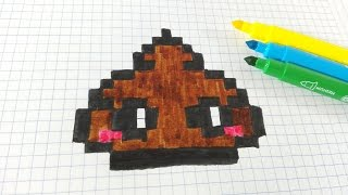 Handmade Pixel Art- Como dibujar caca- Poop  Kawaii Pixel art