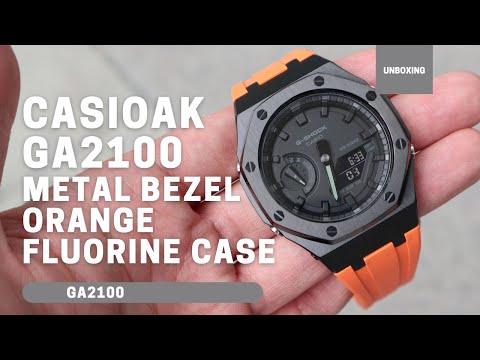 CasiOak GA2100 Black Metal Bezel Fluorine Oragne Rubber Watch Strap Length for Casio G-Shock GA-2100/2110