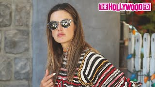 Alessandra Ambrosio Is Eye-Catching In A Patterned Top & White Shorts For Lunch At The Ivy 8.10.20