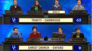 University Challenge   S43E3   Trinity, Cambridge vs Christ Church, Oxford - Video Youtube