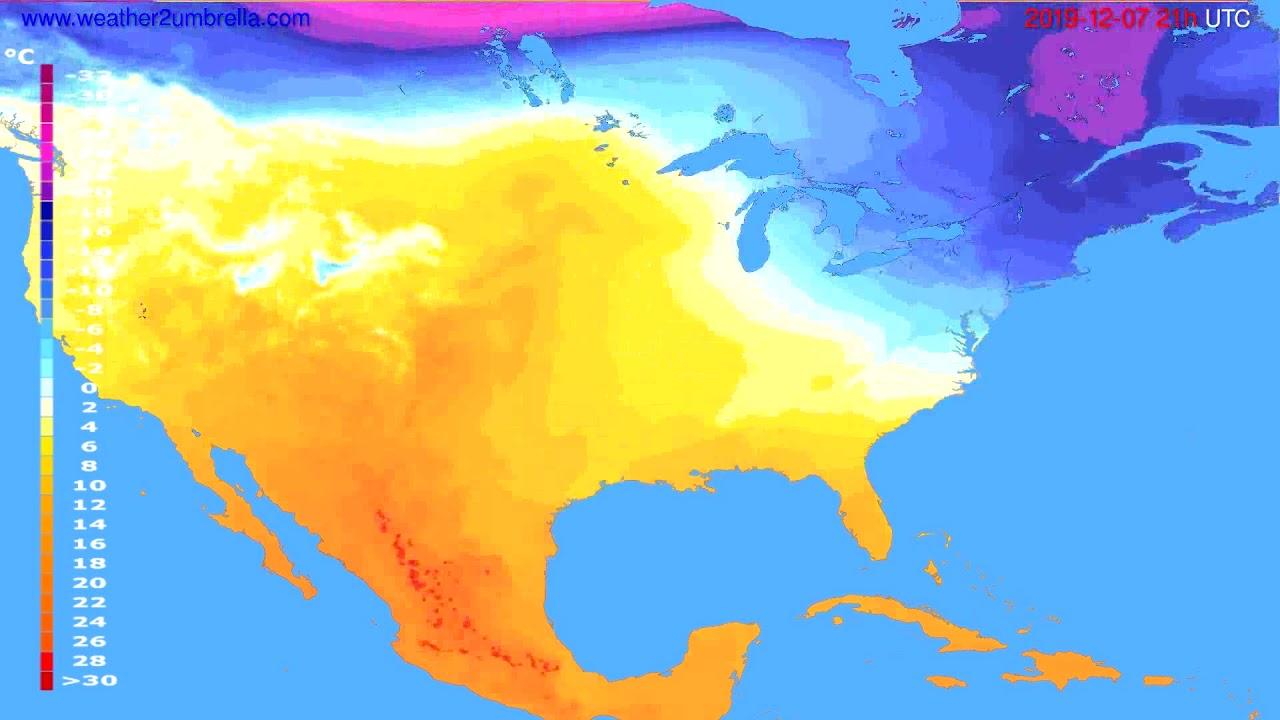 Temperature forecast USA & Canada // modelrun: 12h UTC 2019-12-06