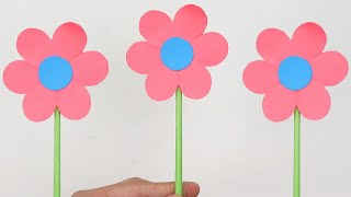 How to Make Easy 🌸 6 Petal Paper Flower Stick 🌸 | A Very Simple Paper Flower for Beginners Making