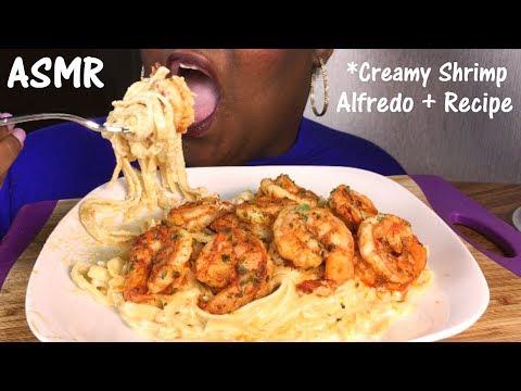 ASMR 🌶 Spicy Shrimp Fettuccine Alfredo + Recipe and Eating Sounds