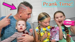Pranking Our Dad! We Bling Out His Shaved Head!! Who Gets Their Ears Pierced?!