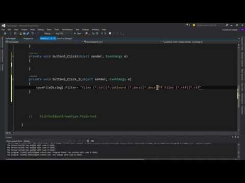 saveFileDialog and richTextBox تعلم برمجة سي شارب الدرس 11| محرر نصوص