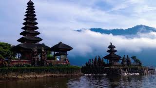 Ulun Danu Bratan Famous Balinese Hindu Temple With Beautiful Mountains Lake In The Morning