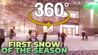 4K 360° NYC : Walking First Snow of the Season (5th Ave, Rockefeller Center, Times Square, Broadway)