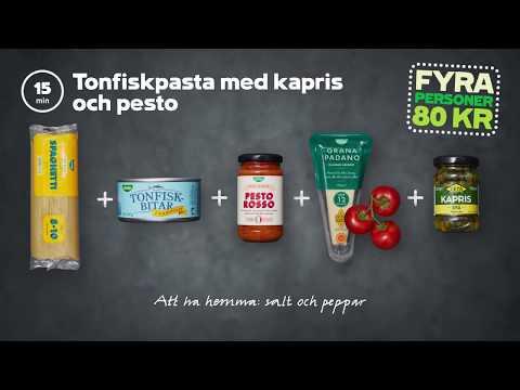 Tonfiskpasta med kapris och pesto | 4 personer 80 kr