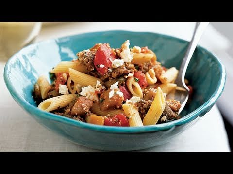 Penne with Sausage Eggplant and Feta