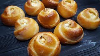 ВАТРУШКИ по-новому 🌹 БУЛОЧКИ-РОЗОЧКИ  с  ТВОРОГОМ🌹простой рецепт🌹 easy buns recipe