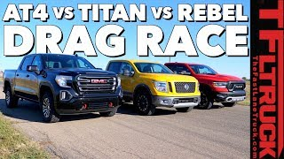What's The Fastest New Off-Road Pickup? GMC vs Nissan vs Ram Drag Race (Gold Winch Ep.1)