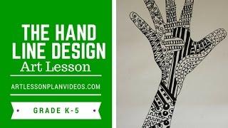 Elementary Art Lesson: The Hand Line Design
