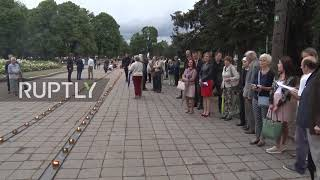 Latvia: People hold procession to celebrate independence from Soviet Union