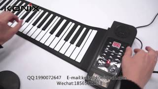 61 Keys Professional Silicon USB Midi Flexible Roll up Electronic Piano Keyboard with Loudspeaker