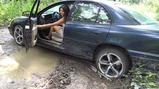 CAR STUCK GIRL | helpless girl stuck with car in mud | CAR CRANKING TV