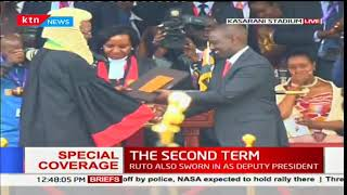 CJ David Maraga hands over Certificate to Deputy William Ruto during the inauguration ceremony