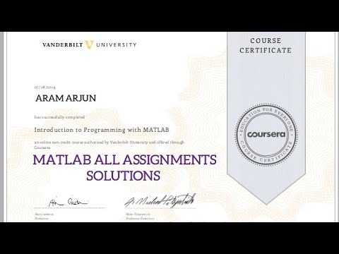 MATLAB COURSERA ALL ASSIGNMENTS SOLUTIONS #matlab ...