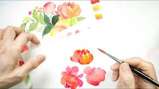 Watercolour Fruit And Floral Wreaths - Peonies Buds
