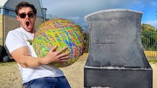 GIANT RUBBER BAND BALL Vs. GIANT AXE (Must See Slow Mo!!)