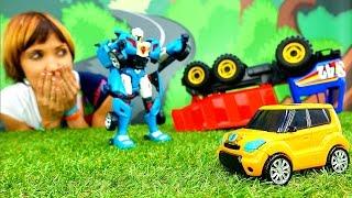 Машинки и роботы Трансформеры. ТОБОТ спасает Грузовик