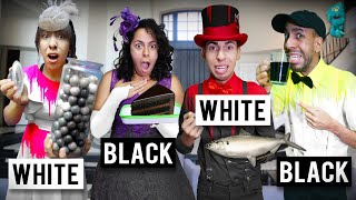 Only Eating Black and White Foods for 24 Hours PLUS Secret Room!! (The Puppet Master's Mansion!)