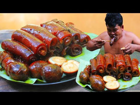 Braised Pork Skin Recipe – Cooking Pig Skin eating so hot delicious