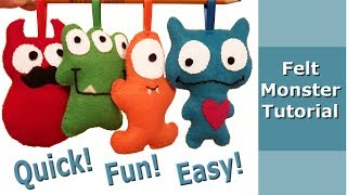 Easy Felt Monster Step By Step Sewing Tutorial For Beginners