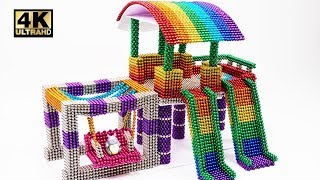 DIY How To Make Indoor Playground With Magnetic Balls ( ASMR )  | Magnet World 4K