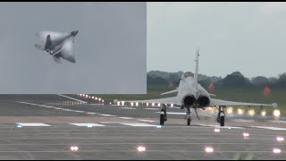 Hold your breath guys F-22 Raptor vs Typhoon Eurofighter takeoff and some flying display highlights