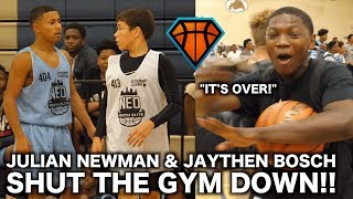 Julian Newman Gets CHALLENGED By Jaythan Bosch at NEOYE!!   Players STORMS the Court