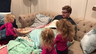 UNCLE GETS MADE INTO A MINKY BLANKET FORT